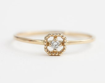 14k gold diamond ring, tiny diamond ring, square setting, antique inspired ring, yellow gold, rose gold, white gold option