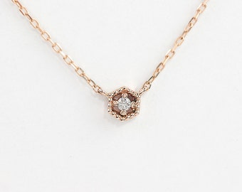 14k rose gold diamond necklace, diamond floating necklace, tiny diamond necklace, hexagon necklace, rose gold, white gold,mil-n101-2mm