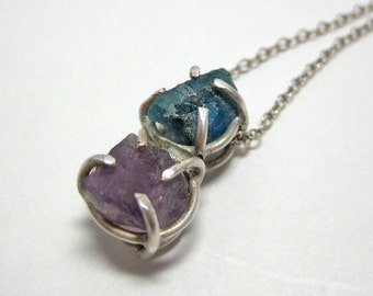 Blue and Purple Gemstone Sterling Silver Necklace with Rough Apatite and Amethyst Prong Set Pendant - One of a Kind Gemstone Jewelry