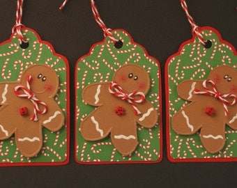 Gingerbread boys Holiday gift tags - scrapbooking, ornament, garland, banner