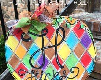 Fall Pumpkin Door Hanger, Welcome Gift, Housewarming Gift, Wedding Gift, Monogram Personalization