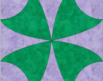 Four Leaf Clover Luck Paper Template Quilting Block Pattern PDF