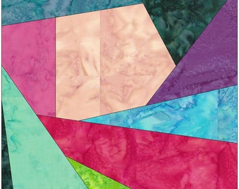 Crazy Patch 16 Paper Piecing Foundation Piecing Quilting Block Pattern PDF
