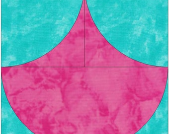 Clam Shell Paper Template Quilting Block Pattern PDF
