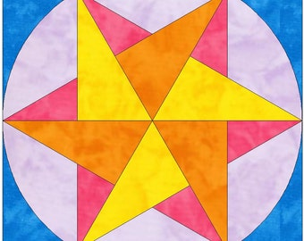 Origami Star Paper Template Quilting Block Pattern PDF