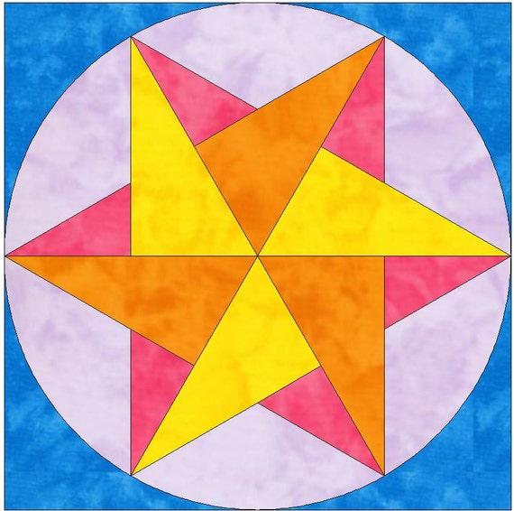 Origami star paper template quilting block pattern pdf for Paper star pattern template