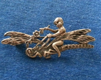 Vintage Sterling Cherub Riding a Dragonfly Brooch Pin