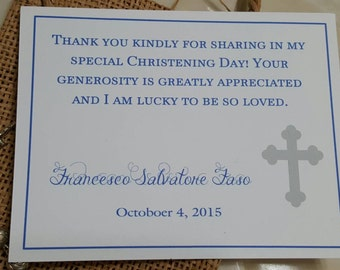 Baptism Thank You Card -You Design - your choice of colors