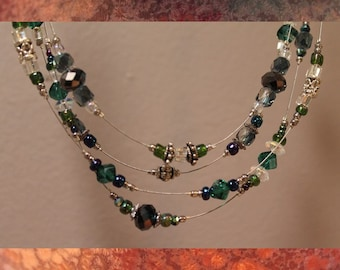 Shimmers of Green Strand Necklace