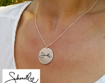 Handwriting necklace - Disc Signature Necklace - With your Personalized Signature - Handwritten Jewelry