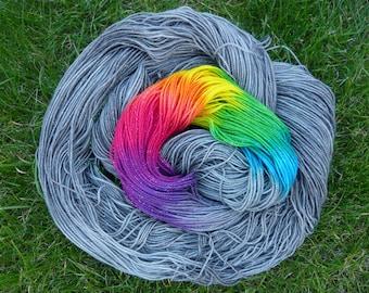 Steel Skies Rainbow, 50g merino nylon blend sock yarn
