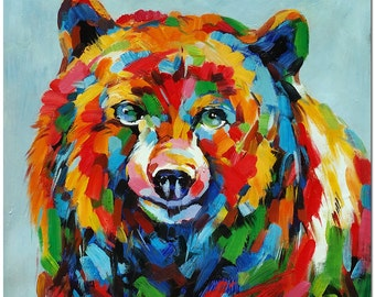 Bear Painting On Canvas - Hand Painted Impressionist Wildlife Animal Fine Art WHAT BRILLIANT COLORS
