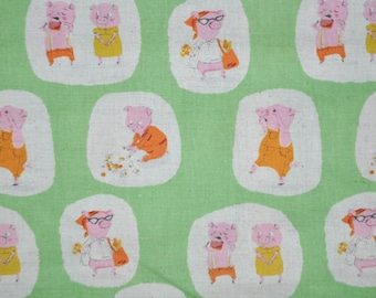 Heather Ross Nursery Versery - FQ Green Pigs Went to Market Fabric