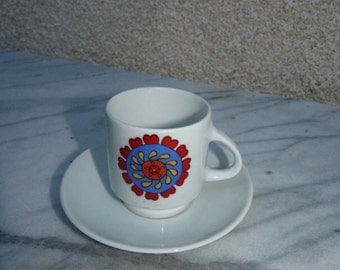 11 cups and saucers VINTAGE 1970. ANCAP, made in Italy, design and vintage 1970