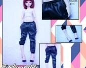 BJD MSD 1/4 Fashion faux leather joggers pants