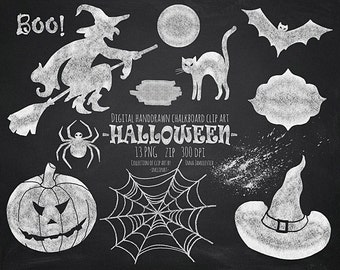 Halloween chalkboard clip art. Hand drawn chalkboard Halloween clipart. Instant download in PNG format. Business use
