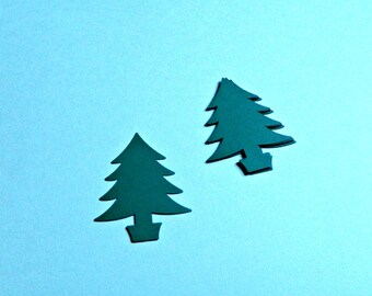 Fir Tree Punch outs, Die cut potted Christmas trees choose amount & color, DIY holiday crafting packaging tags, scrapbooking cards, confetti