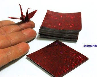 """200 Sheets 2"""" x 2"""" Red Color DIY Chiyogami Yuzen Paper Folding Kit for Origami Cranes """"Tsuru"""". (4D Glittering paper series)."""