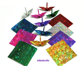 "200 Sheets 2"" x 2"" Assorted Colors DIY Chiyogami Yuzen Paper Folding Kit for Origami Cranes ""Tsuru"". (4D Glittering paper series). #CRK-63."