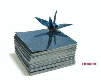 "200 Sheets 2"" x 2"" Blue Color DIY Chiyogami Yuzen Paper Folding Kit for Origami Cranes ""Tsuru"". (4D Glittering paper series)."
