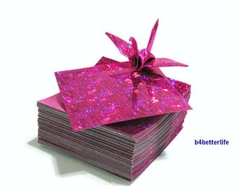 "200 Sheets 2"" x 2"" Pink Color DIY Chiyogami Yuzen Paper Folding Kit for Origami Cranes ""Tsuru"". (4D Glittering paper series)."