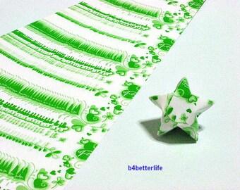 120 Strips of Green Color DIY Origami Paper Folding Kit For Folding The Big Lucky Stars. 34cm x 1.8cm. (KZ paper series). #Heart. #SPK-159.
