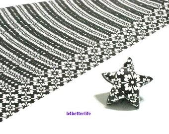 120 Strips Black Color DIY Origami Paper Folding Kit For Folding The Big Lucky Stars. 34cm x 1.8cm. (KZ paper series). #Floral. #SPK-144.