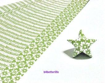 120 Strips Green Color DIY Origami Paper Folding Kit For Folding The Big Lucky Stars. 34cm x 1.8cm. (KZ paper series). #Floral. #SPK-158.