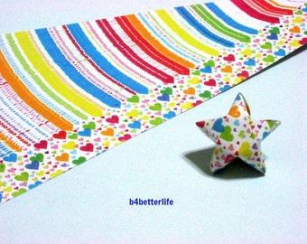 120 Strips of Multicolored DIY Origami Paper Folding Kit For Folding The Big Lucky Stars. 34cm x 1.8cm. (KZ paper series). #Heart. #SPK-133.