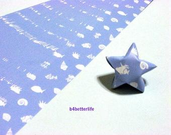 "120 Strips Blue Color DIY Origami Paper Folding Kit For Folding The Big Lucky Stars. 34cm x 1.8cm. ""Underwater"" (KZ paper). #SPK-138."