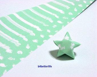 120 Strips Light Sea Green Color DIY Origami Paper Folding Kit For Folding Big Lucky Stars. 34cm x 1.8cm. (KZ paper series). #Underwate