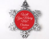 Will You Marry Me Christmas Ornament - Personalized Proposal Christmas Ornament - Engagement Christmas Ornament - Pop the Question
