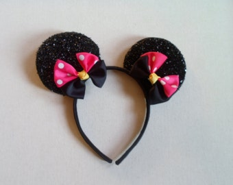 Sparkly Black Minnie Mouse Ears Headband With Double hot pink polka dot & black bow; Minnie Mouse Bow