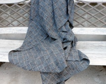 Scandinavian Pure  wool throw blanket Checkered Grey 155x190cm  61x75 inches,