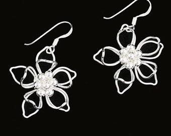 Silver Flower Earrings, Sterling Silver Earrings, Silver Dangle Earrings, Real Silver Earrings, Silver Wirework Earrings, 925 Earrings