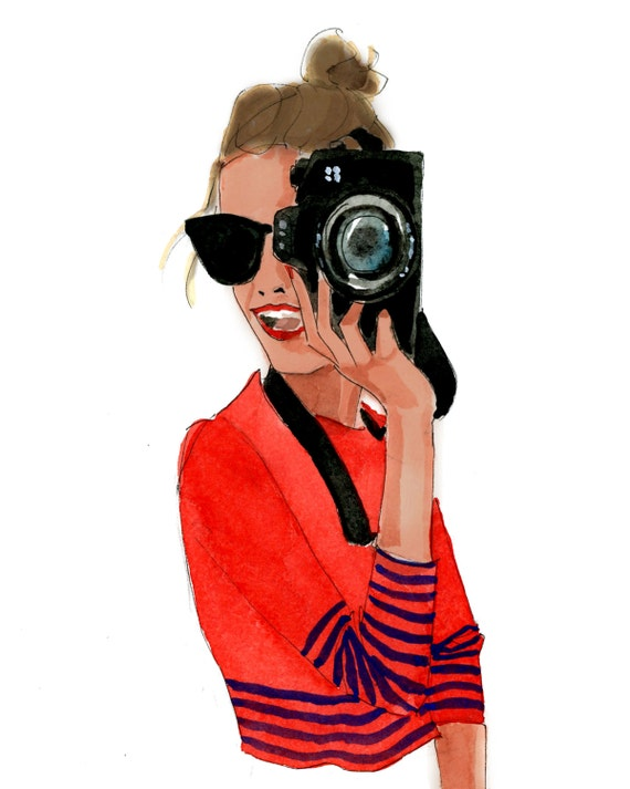 Art Print Camera Girl By Athingcreated On Etsy