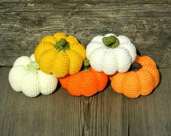Halloween Crochet Pumpkin 5 pcs Thanksgiving decorations Pumpkin decor Autumn decor Halloween Party favors Fall decor gift Harvest