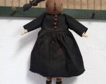 Primitive Folk Art Pumpkin Head Doll and Her Bat - Halloween