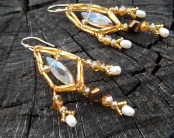 Twist of Gold, Geometric Crystal Beaded Earrings