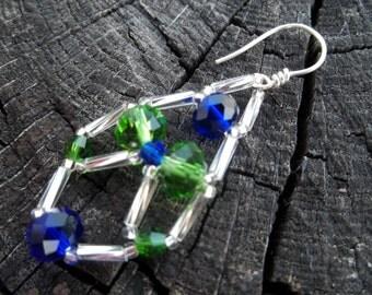 Blue and Green Beaded Chandelier Earrings