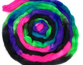 Superwash Merino/Nylon Spinning Fiber --- Rave --- Combed top, roving, sock fiber
