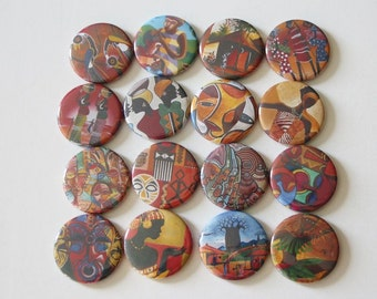16 african theme magnets,african fridge magnet,locker magnet,button pin,african magnet favor,african art magnet,office magnet