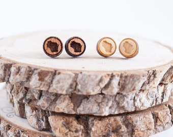 WI State Stud Earrings | Wood Stud Earrings | Wisconsin Jewelry | WI Love