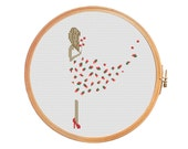 Girl in flowers dress - cross stitch pattern - modern cross stitch girl in a dress dress from flowers girl with flowers fashion