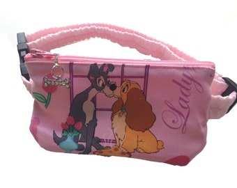 Insulin Pump Pouch Pack Lady & the Tramp with sparkly zip charm.