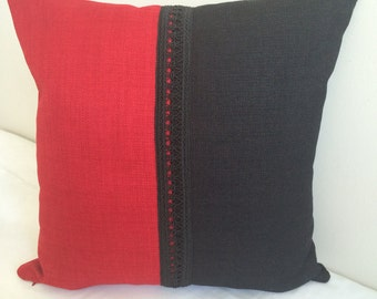 Black and red chenille square cushion cover, Pillowcase, pillow sham