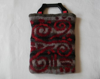 Felted hand-knit tapestry tote--reds and greys--inspired by ancient Mexican cylinder seal, plastic & rope handles, 2 pockets--Mexican Swirl