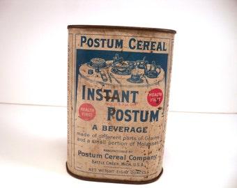 Vintage Postum Cereal Tin, Antique Instant Postum Cereal Container