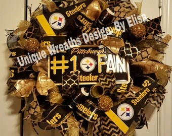 Pittsburgh Steelers Wreath, Steelers Mesh Wreath, Pittsburgh Wreath,
