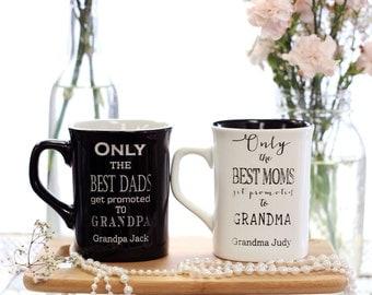 Personalized Coffee Mugs, New Grandparents Mug, Grandma and Grandpa Mugs Set of 2 --7361